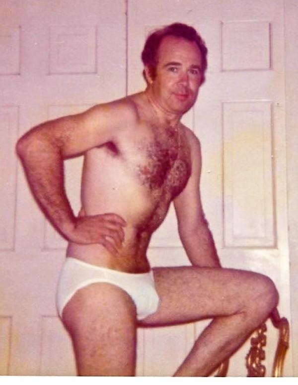 Naked men wearing flip flops