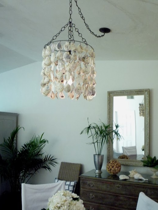 DIY Oyster Shell Chandelier