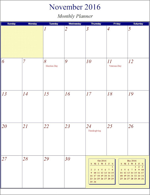 October nov december 3 months printable calendar 2016 for Three month calendar template word