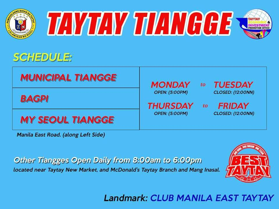 Schedule Tiangge Taytay