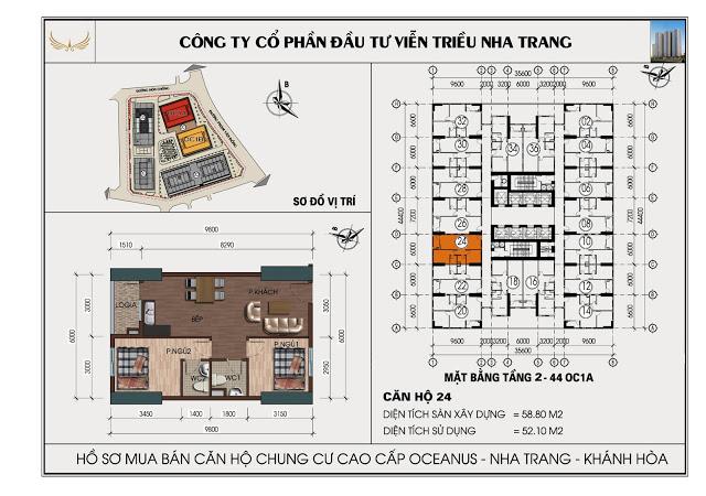 Sơ đồ căn hộ số 24 tòa OC1A Viễn Triều Nha Trang
