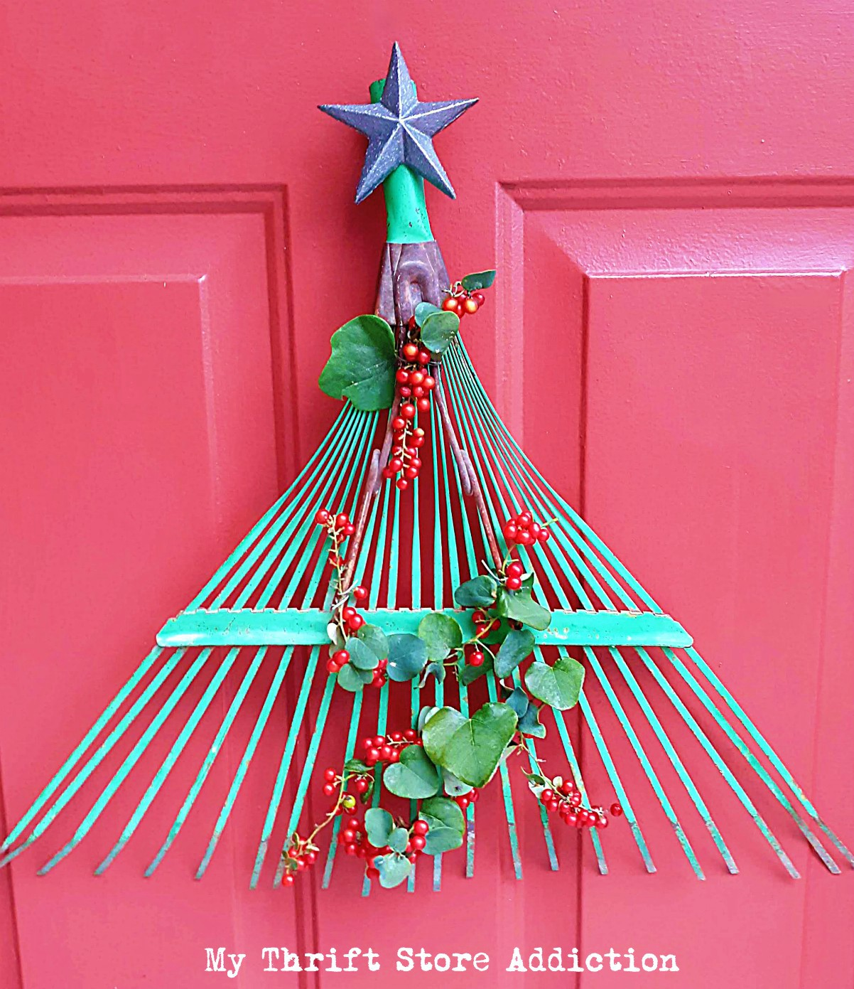 Repurposed Rake Head Christmas tree