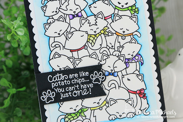 Simple Coloring Cat Card by Juliana Michaels featuring Newton's Nook Designs Company of Cats Stamp Set