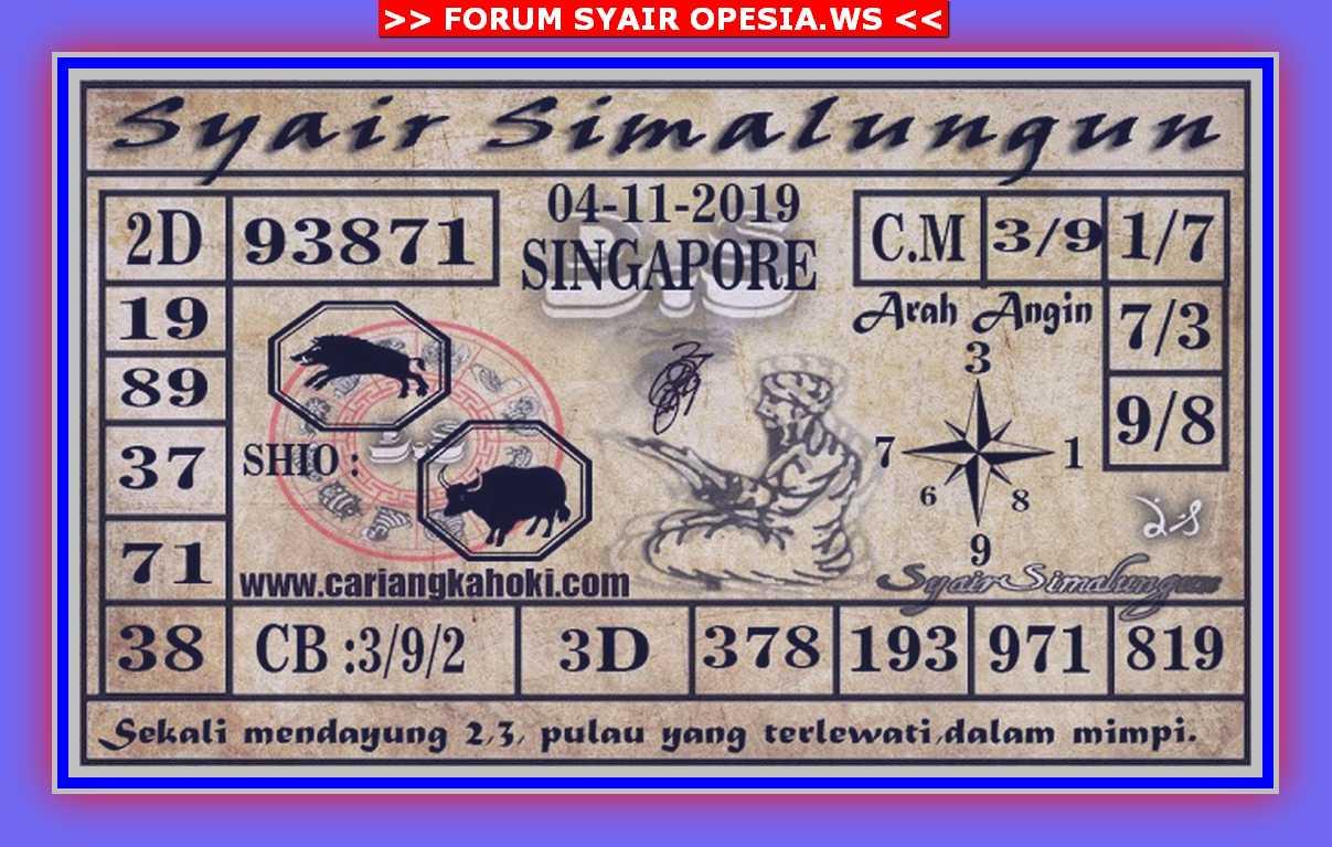 Kode syair Singapore Senin 4 November 2019 67