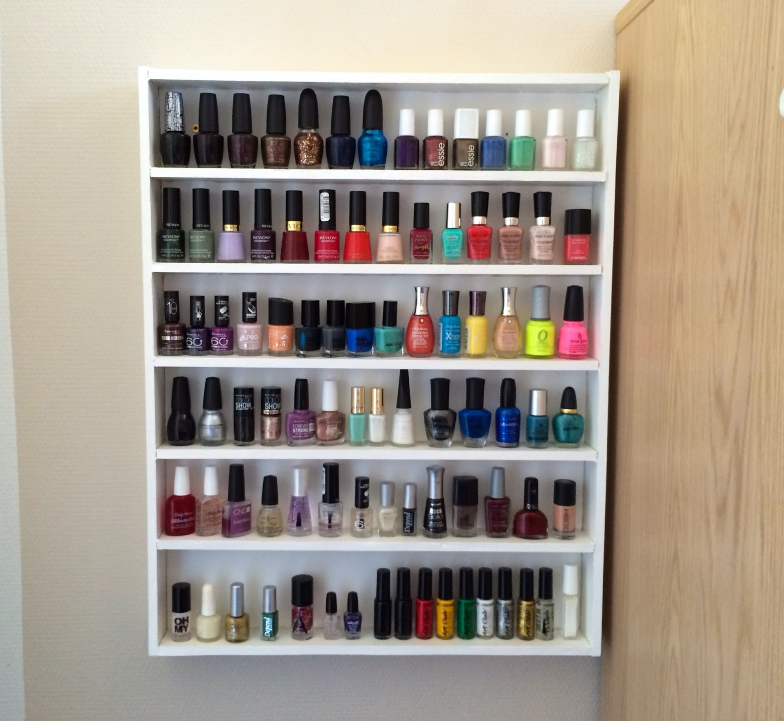 Camilla rumph do it yourself nail polish rack this is the finished nail polish rack with nail polish on it solutioingenieria Gallery