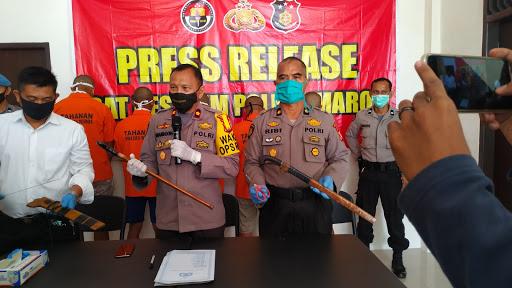 Lima Warga Dibekuk Polisi Setelah Terobos Mapolsek Camba Maros dan Aniaya Tahanan