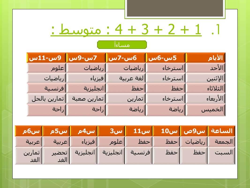 جدول مقترح لتنظيم وقت المراجعة لتلاميذ سنوات التعليم المتوسط مدونة حلمنا العربي