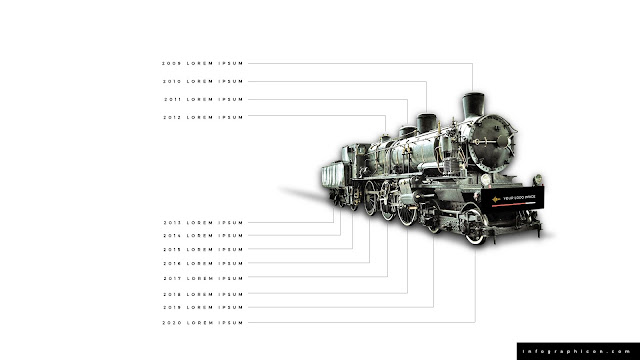 Timeline Infographic Elements with Locomotive in White Background Slide 1