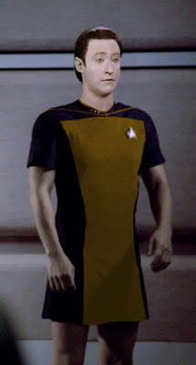 Data wearing TNG skant uniform
