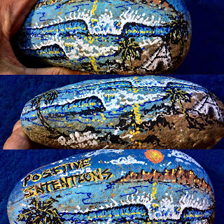 Painted rock by Surfer Shaper Artist Paul Carter
