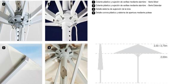 accesorios parasoles aluminio serie estándar silver