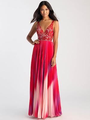 V-neck prom dress Madison James Red/Multi color