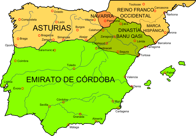 Map of the Iberian Peninsula in 910