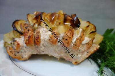 Schab pieczony z jabłkami