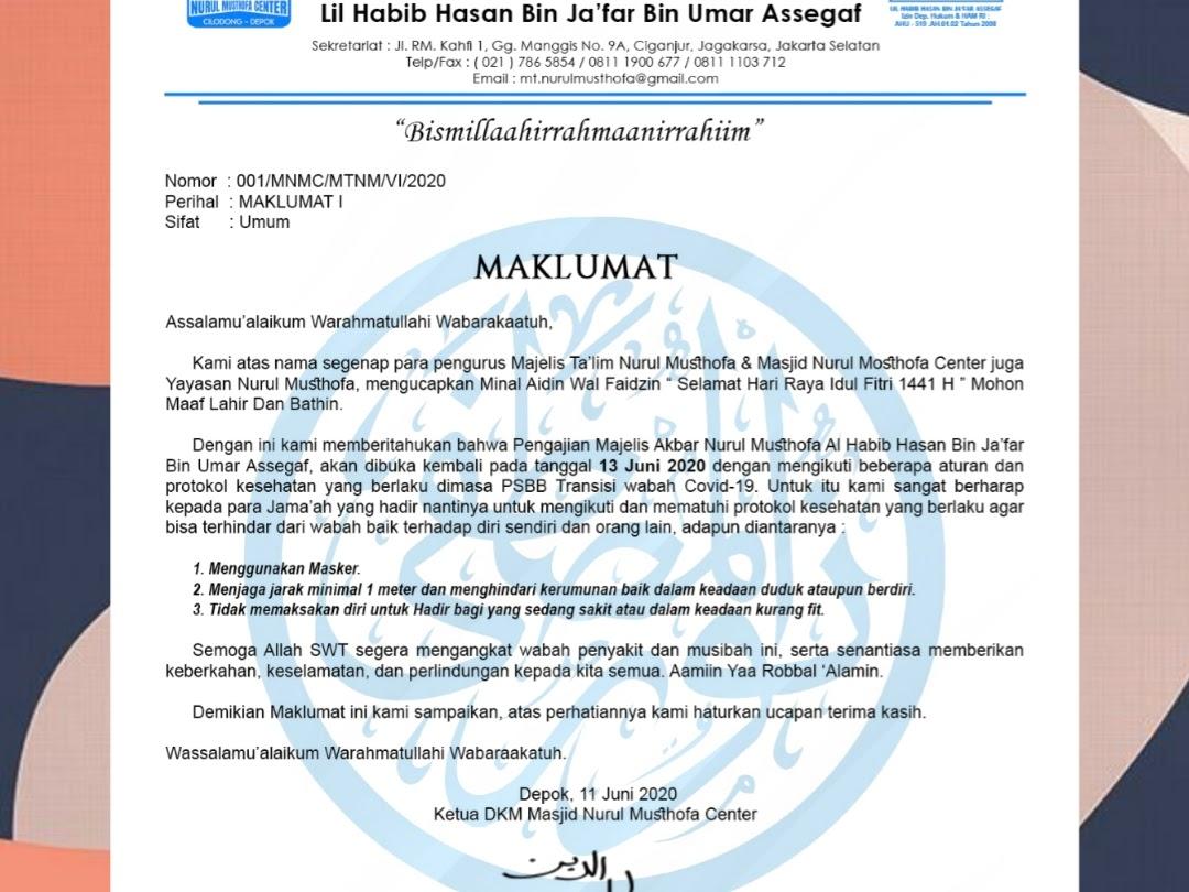 Press Release Masjid Nurul Musthofa Center untuk 13 Juni 2020