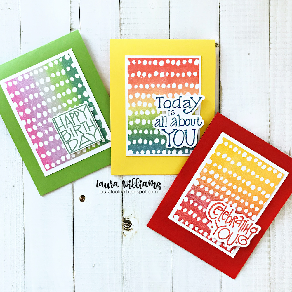 Click to see a simple way to use background stamps to make colorful birthday cards for everyone!