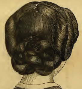 "1863 ""Coiffure for a Young Lady"" from Godey's."