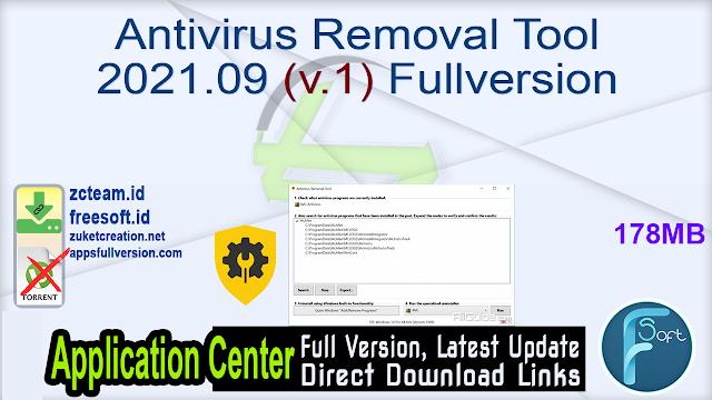 Antivirus Removal Tool 2021.09 (v.1) Fullversion