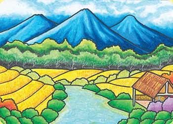 contoh gambar pemandangan alam sawah dan pegunungan