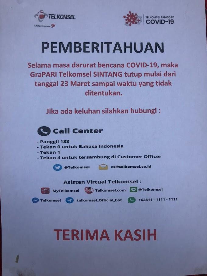 Grapari Telkomsel Sintang Tutup Pelanggan Keluhkan Pelayanan