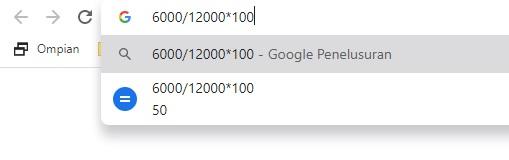 Google Chrome sebagai kalkulator