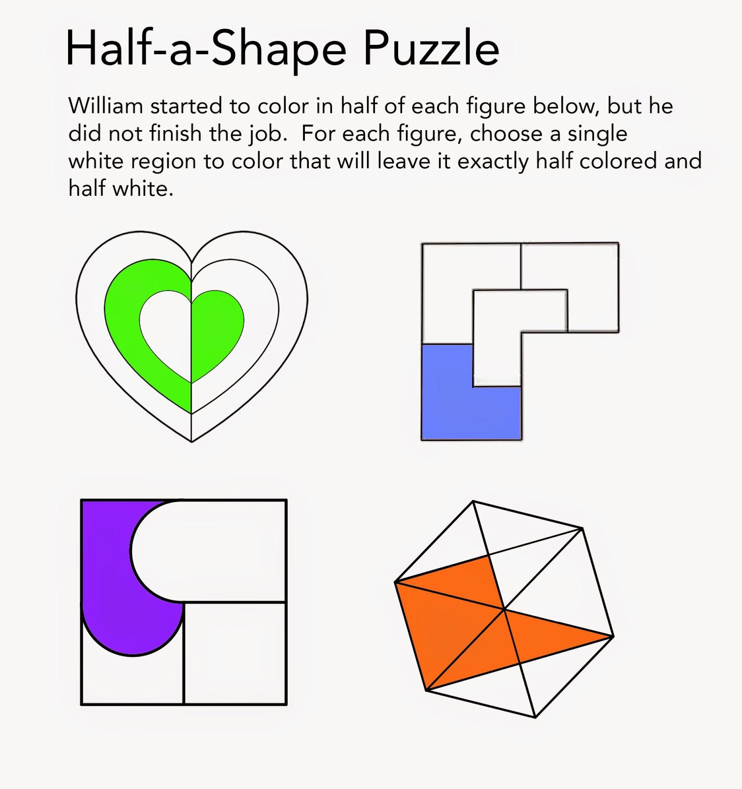 Math Problems Half A Shape Puzzle