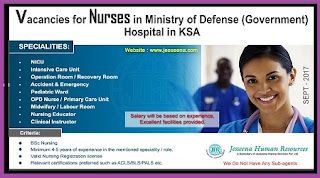 Nurses Vacancies in Ministry Of Defence (MOD) Hospital, KSA