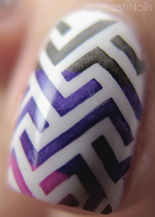 Close up of stamped zig zag nail art