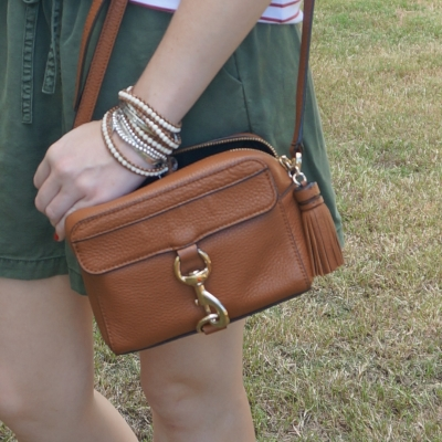 waxed leather wrap bracelet with Rebecca Minkoff MAB Camera Bag in almond and olive shorts | awayfromtheblue