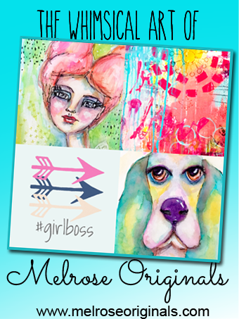 pinnable image grid of whimsical art designs from Melrose Originals