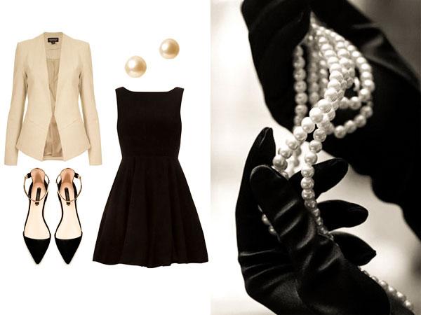 черное платье и украшения из жемчуга
