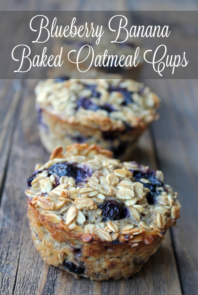 Baked Blueberry Banana Oatmeal Cups #cups #bars #banana #dessert #recipes