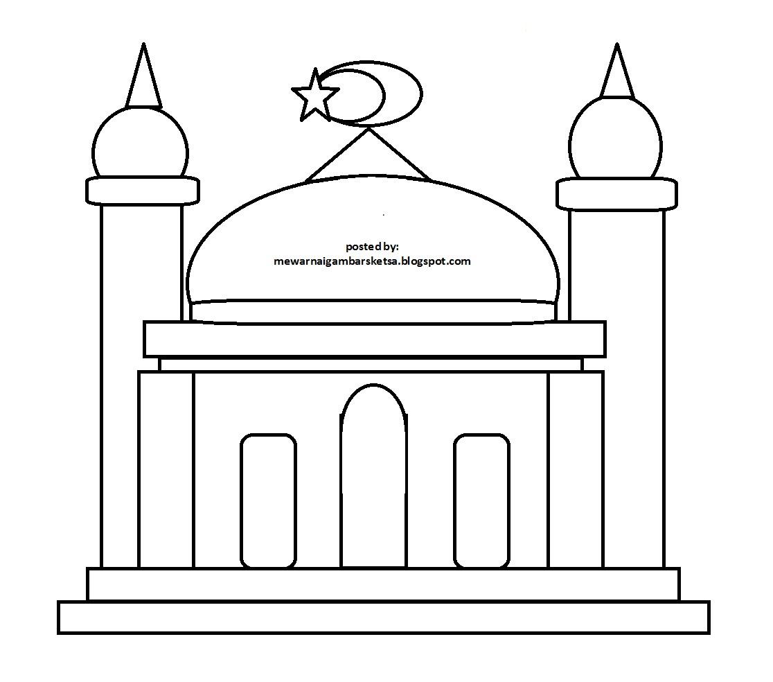 Gambar Masjid Mewarnai Download Hitam Putih