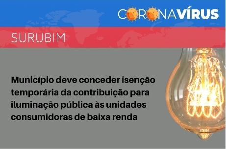 MPPE recomenda que Surubim conceda isenção temporária da contribuição para iluminação pública às unidades consumidoras de baixa renda.