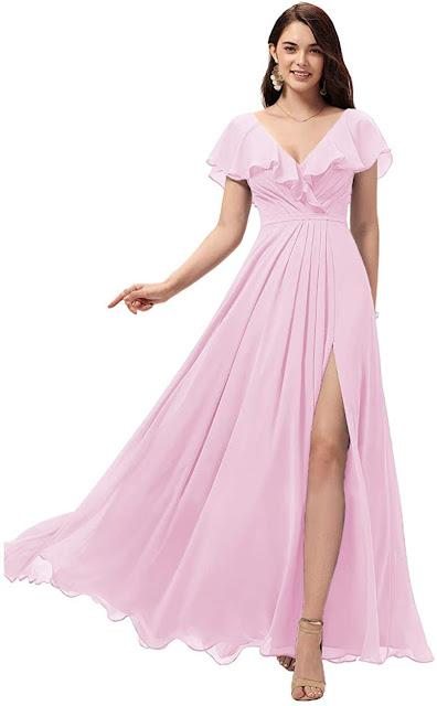 Designer Pink Chiffon Bridesmaid Dresses