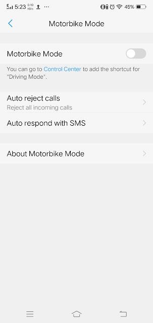 Vivo v9 motobike mode activated