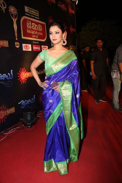 Adaa Khan in Blue Silk Saree