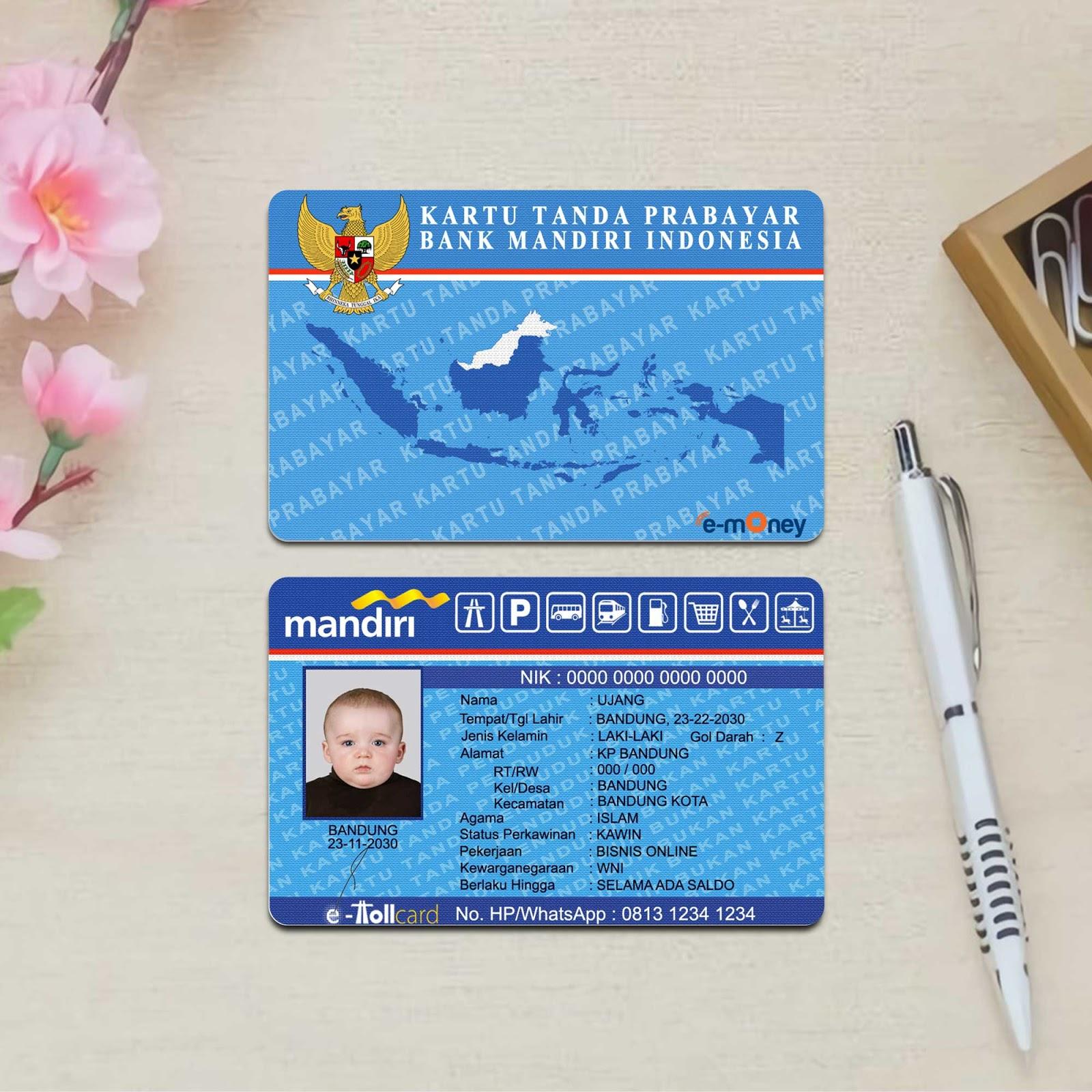 Mockup Custom Kartu Uang Elektronik e-money Depan Belakang ...