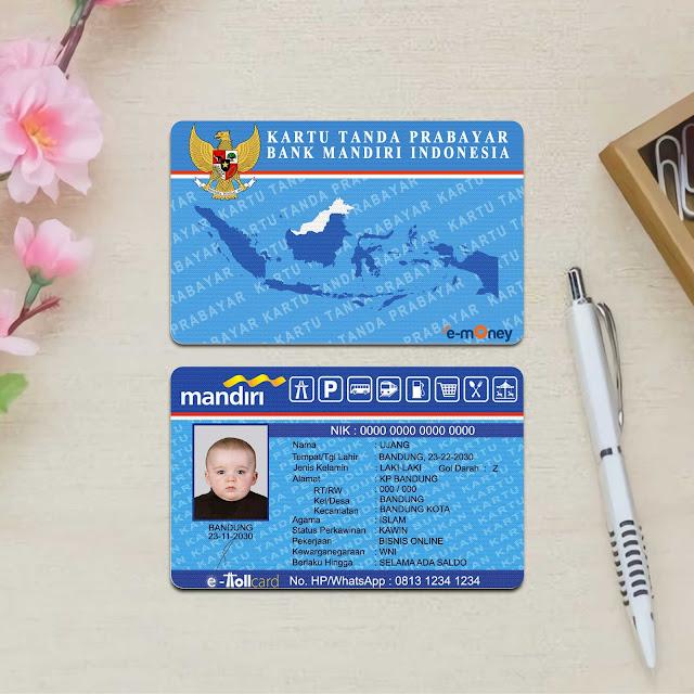 Mockup Custom Card e-money depan belakang