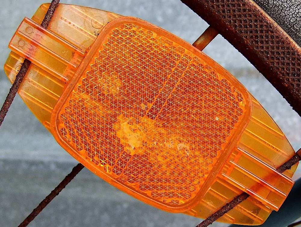 orange bicycle reflector