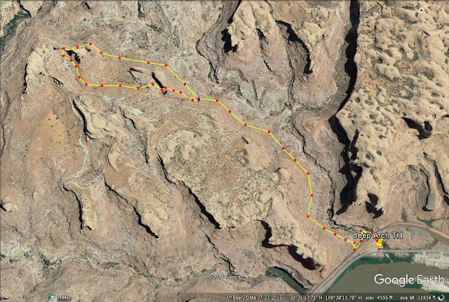 Jeep Arch, Moab trail map