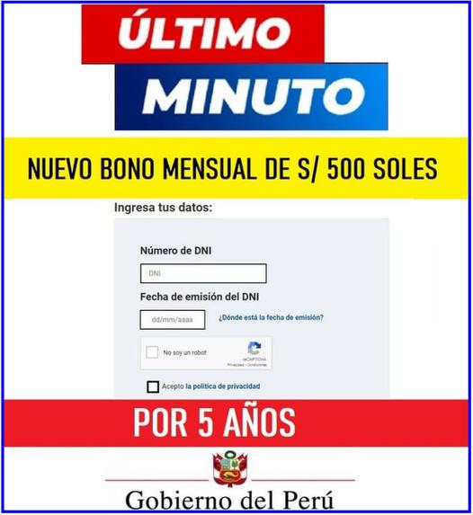 Bono Extraordinario ALQUILER De Inmueble 2021 De 500 SOLES