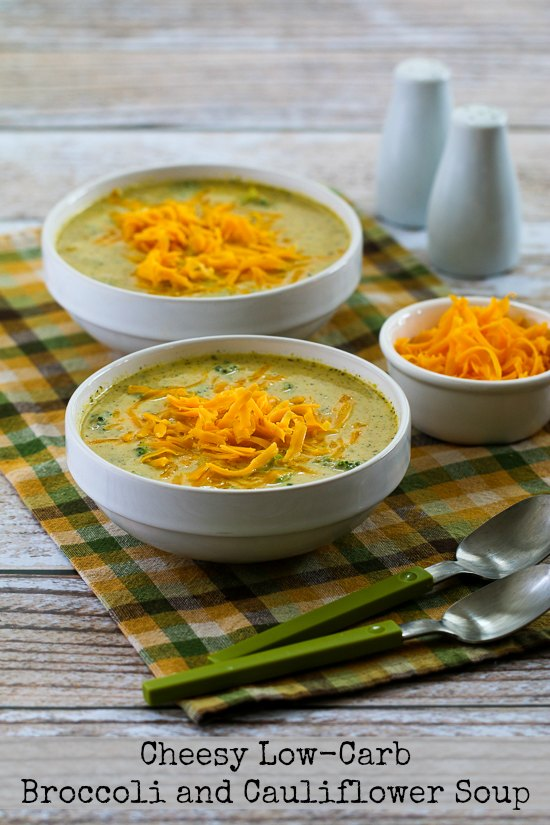 Cheesy Low-Carb Broccoli and Cauliflower Soup featured for Low-Carb Recipe Love on Fridays on KalynsKitchen.com