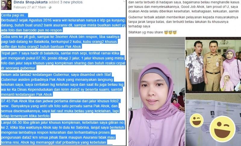 Testimoni Dinda ShopJakarta soal Ahok