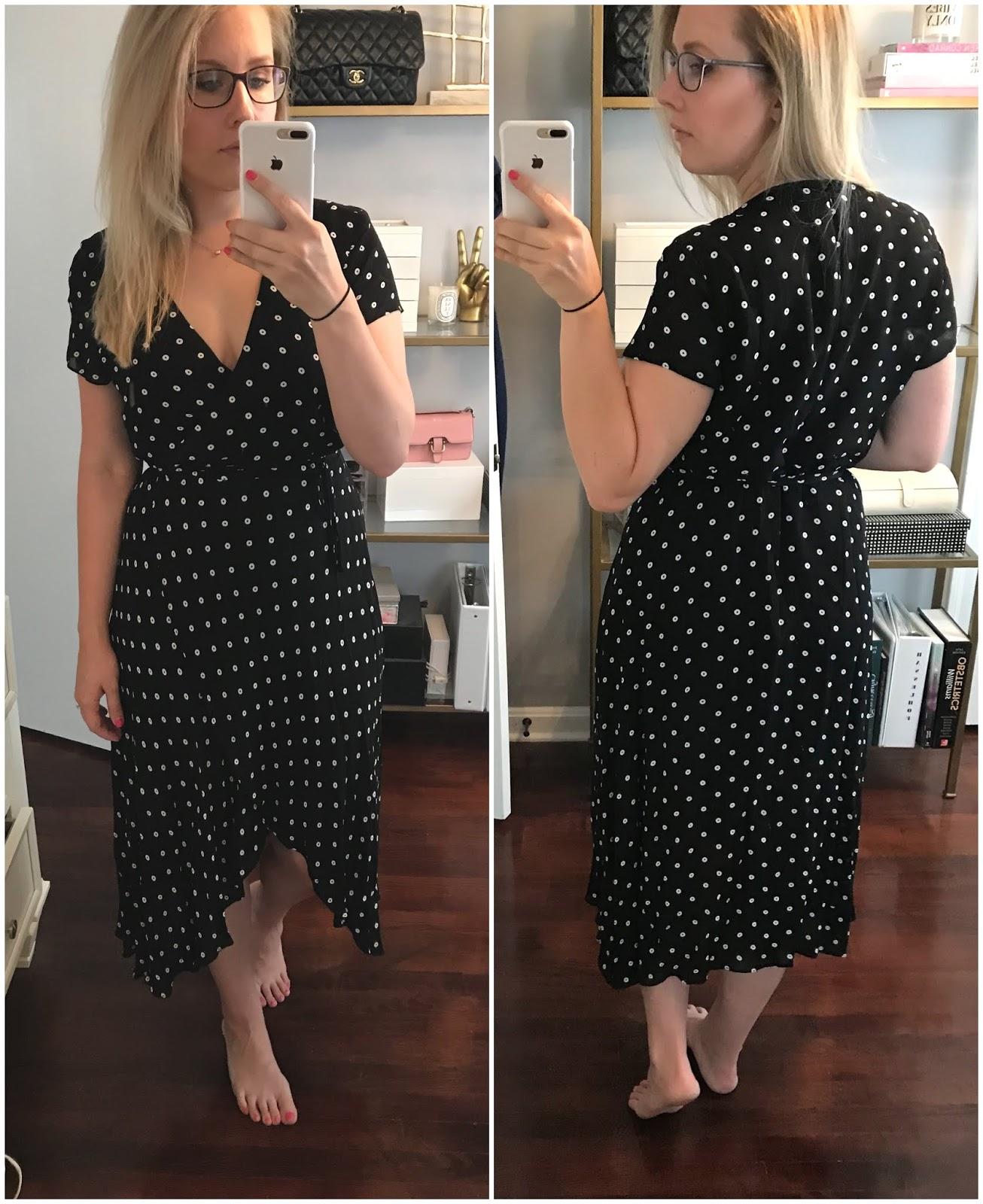 bardot-dotted-faux-wrap-midi-dress
