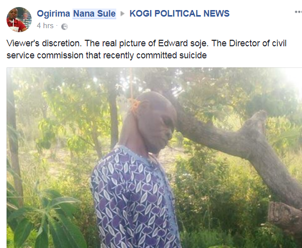 Civil servant committed suicide after his wife put to bed in Kogi