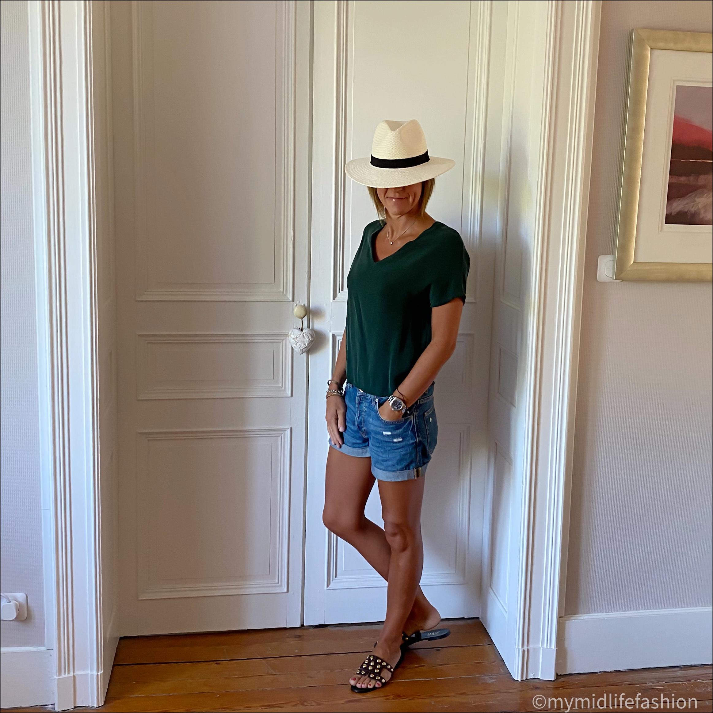 my midlife fashion, Joseph silk top, h and m boyfriend denim shorts, zara Panama hat, zara flat leather studded sandals