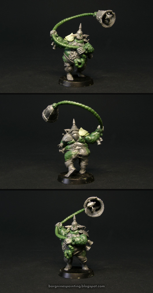 Converted tabletop miniature of Tolly Glocklinger, the Nurgle Blood Bowl Star Player. The kitbash is based on a Nurgle Bloater from the 'Nurgle's Rotters' GW box, with reposed arms, holding his own intestine with a giant bell on the end, swinging it above his head. The intestine is made out a wire covered with greenstuff. The model is shown from several angles.