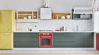 Scandinavian kitchen style idea features gray countertop