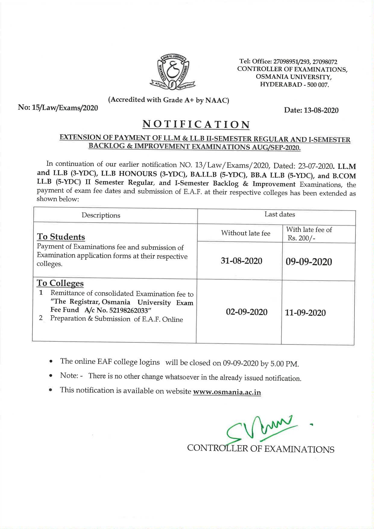 Osmania University LLM & LLB 1st & 2nd Sem August 2020 Exam Fee Extension Notification